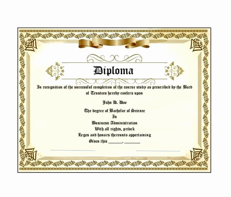 College Degree Certificate Templates Luxury 30 Real & Fake Diploma Templates High School College