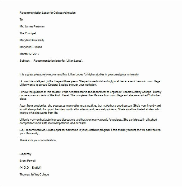 College Letter Of Recommendation Sample Awesome Best 25 Letter Of Re Mendation format Ideas On