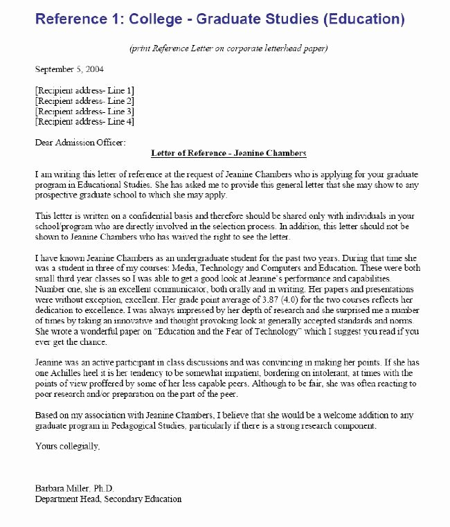 College Letter Of Recommendation Sample Inspirational College Re Mendation Letter