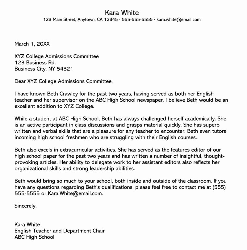 College Letter Of Recommendation Sample Lovely College Re Mendation Letter 10 Sample Letters & Free