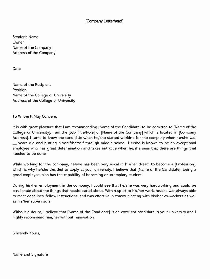 College Letter Of Recommendation Sample Unique 10 Re Mendation Letter Head