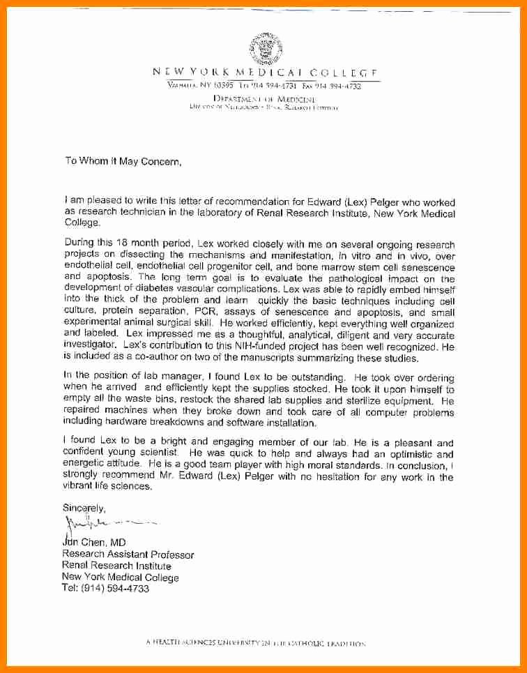 College Letter Of Recommendation Sample Unique 5 Letter Of Re Mendation From Teacher to Student