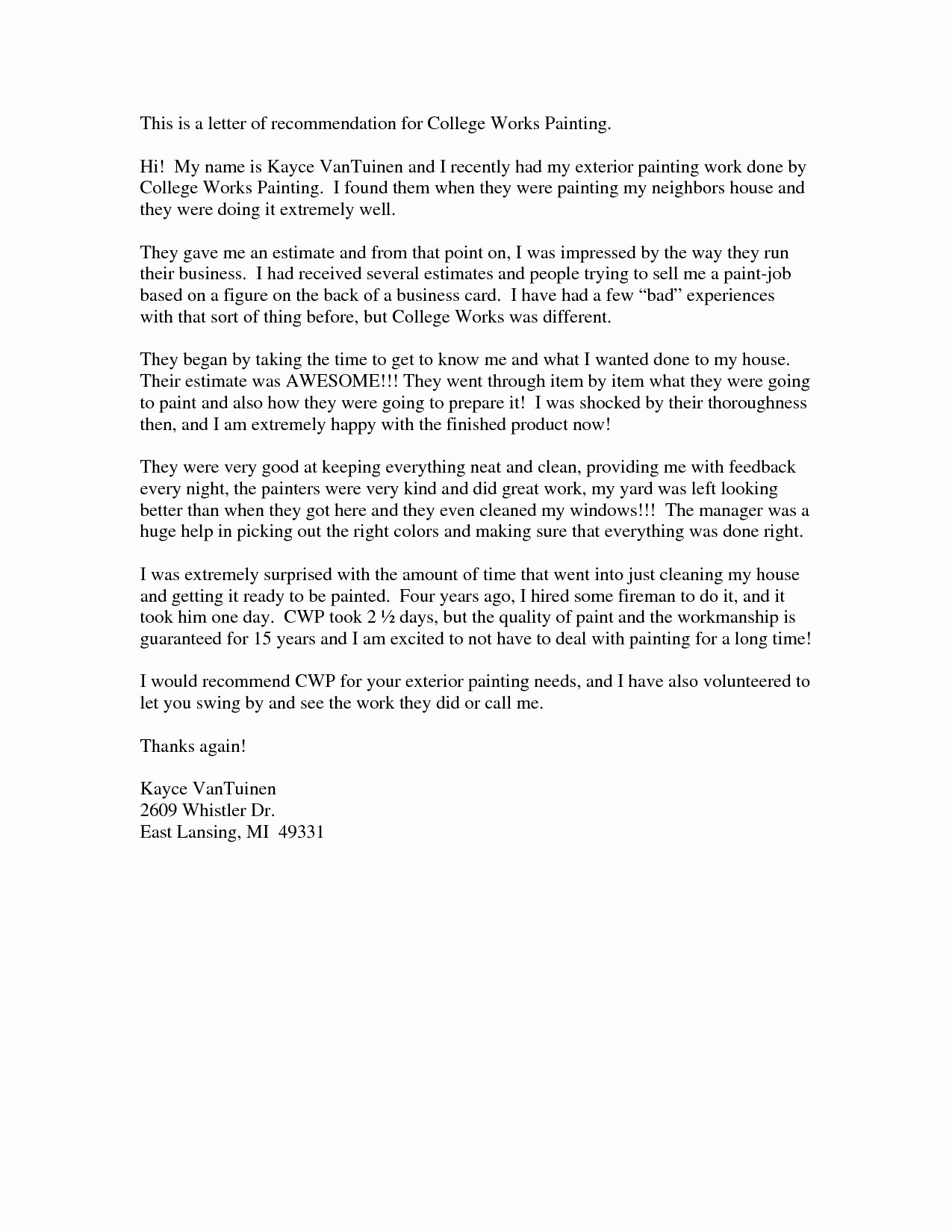 College Recommendation Letter format Awesome Letter Re Mendation for College Admission Template