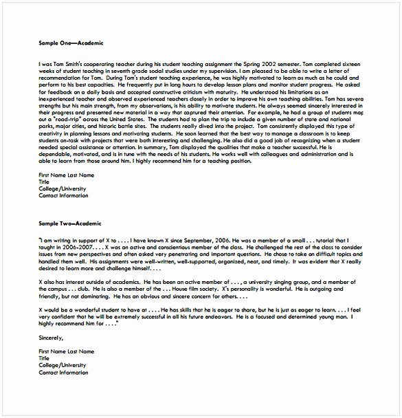 College Recommendation Letter format Beautiful College Re Mendation Letter Template