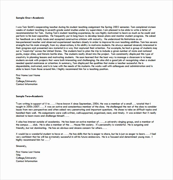 College Recommendation Letter format Lovely Free 20 College Re Mendation Letters In Pdf