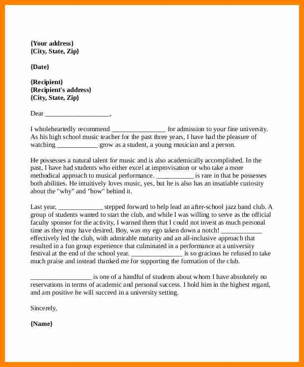 College Recommendation Letter format New 5 Re Mendation Letter format for College Admission