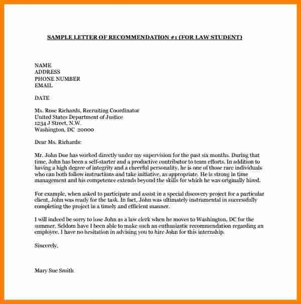 College Recommendation Letter format Unique 8 College Letter Of Re Mendation Template