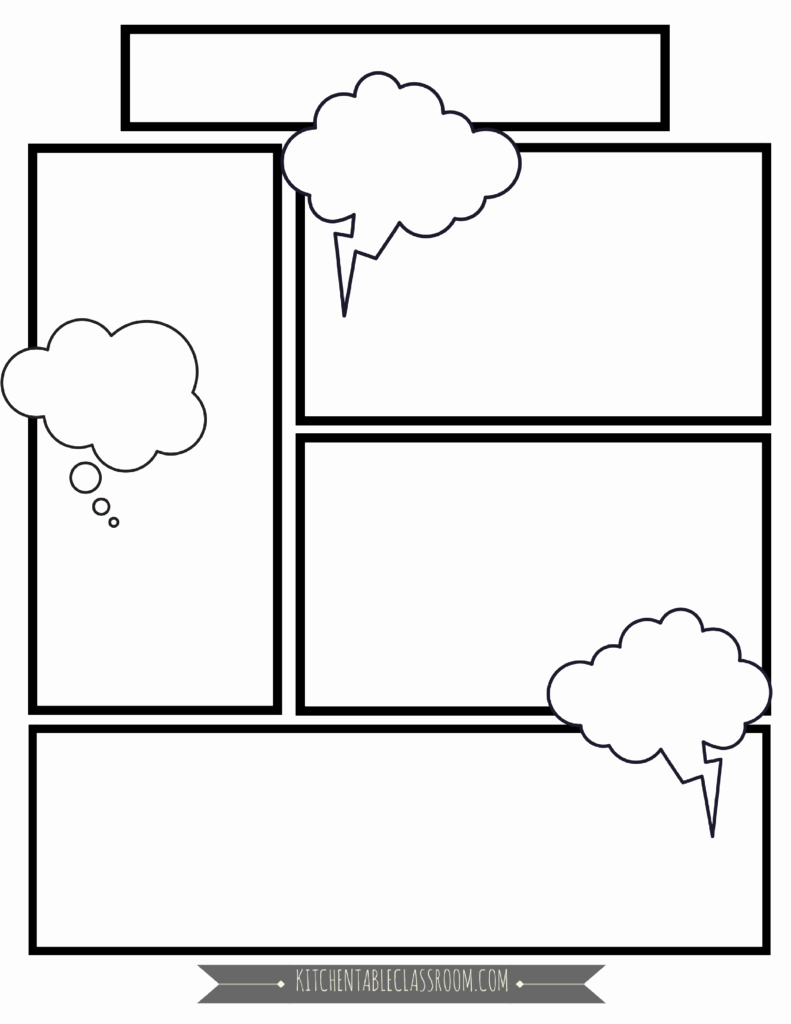 Comic Strip Template Fresh Ic Book Templates Free Printable Pages the Kitchen