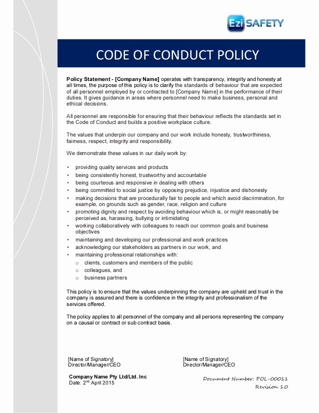 Company Code Of Ethics Example Unique Code Of Conduct Policy and Procedure