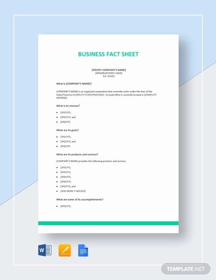 Company Fact Sheet Template Fresh 27 Fact Sheet Templates Pdf Doc Apple Pages Google