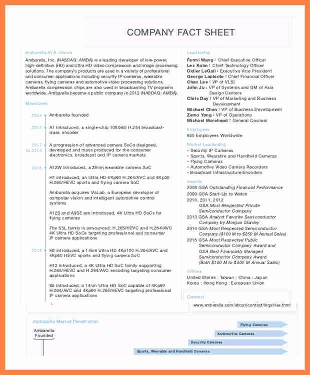 Company Fact Sheet Template Fresh 8 Pany Fact Sheet Template