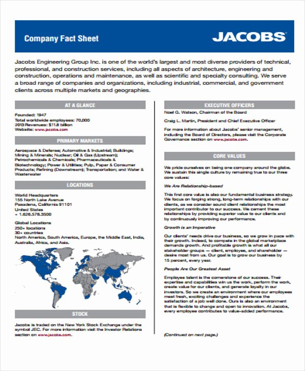 Company Fact Sheet Template Inspirational 23 Fact Sheet Templates