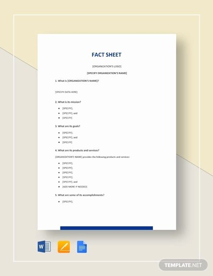 Company Fact Sheet Template Luxury 27 Fact Sheet Templates Pdf Doc Apple Pages Google