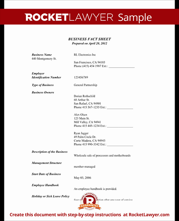 Company Fact Sheet Template New Business Fact Sheet with Template & Sample