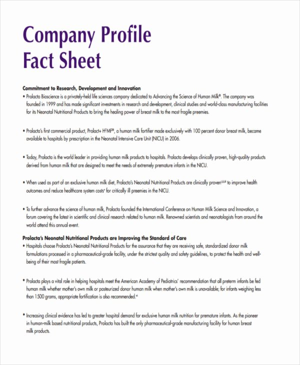 Company Fact Sheet Template Unique 28 Fact Sheet formats