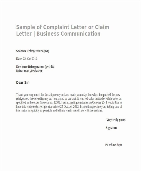 Complaint Letter to Company Best Of Free 34 Plaint Letter Examples & Samples In Pdf