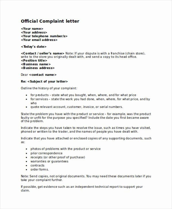 Complaint Letter to Company Lovely Technical Report Letter format