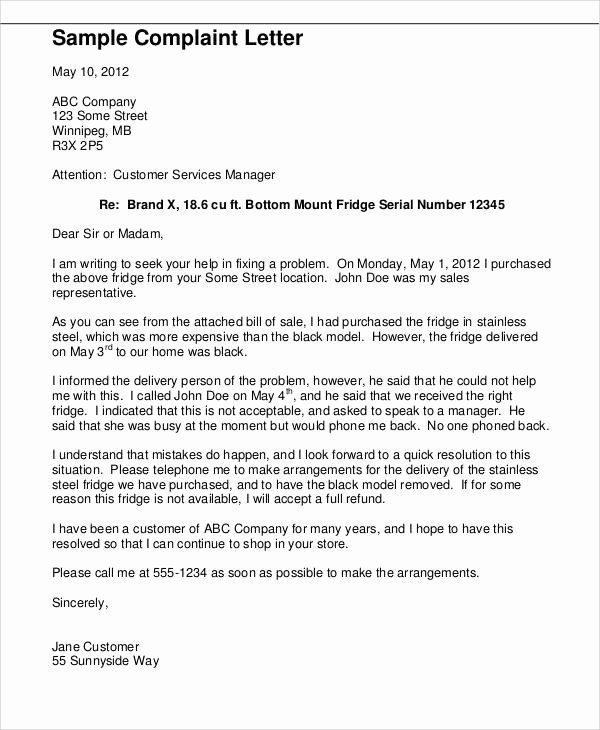 Complaint Letter to Company Luxury 36 Plaint Letter Samples
