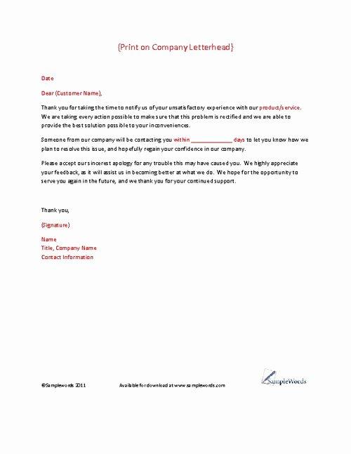 Complaint Letter to Company New Client Plaint Response Letter Template