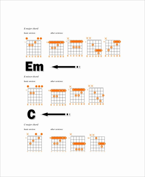Complete Guitar Chord Chart Best Of 6 Plete Guitar Chord Charts Free Sample Example