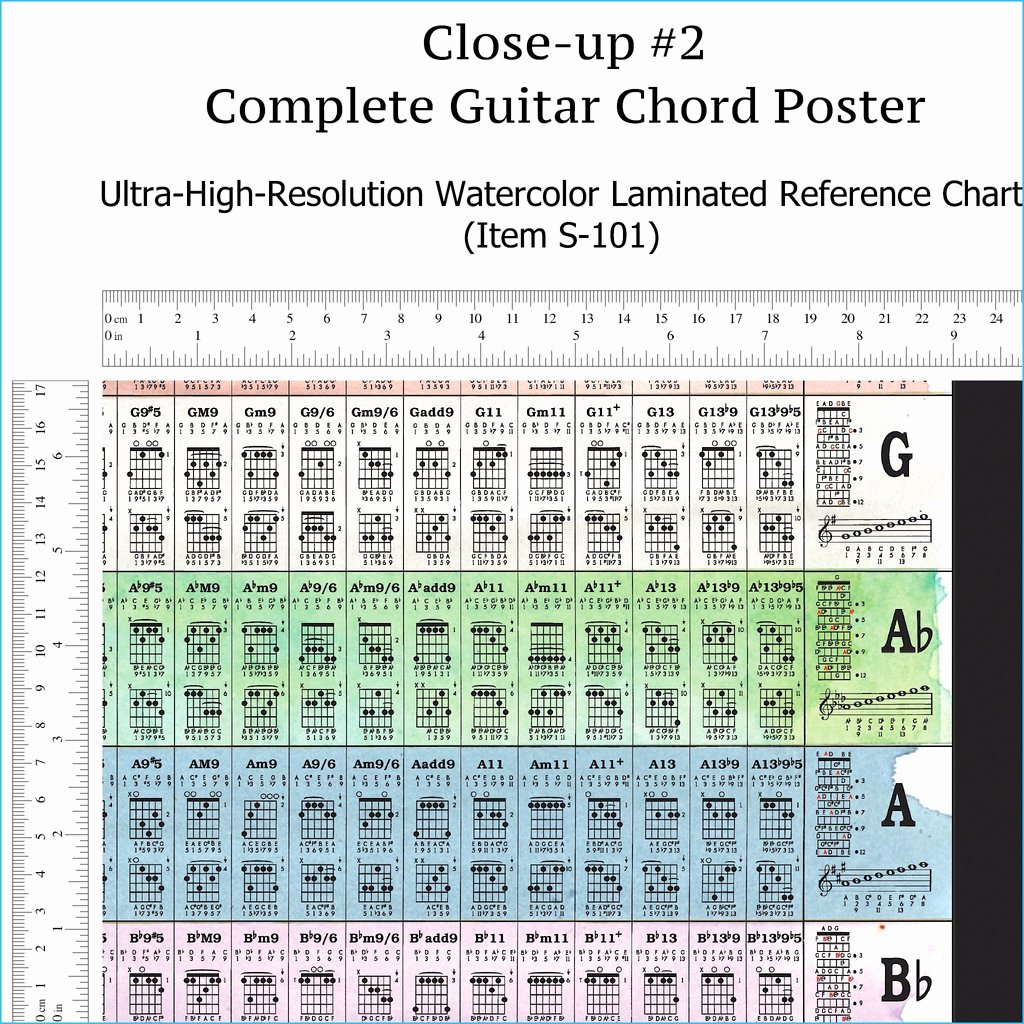 Complete Guitar Chord Charts Beautiful Plete Guitar Chords Chart Laminated Reference Wall
