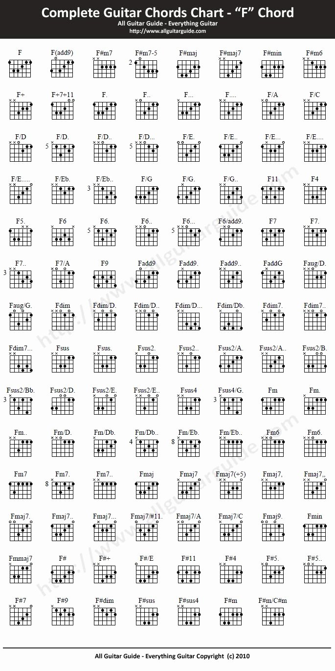 Complete Guitar Chord Charts Unique Plete Guitar Chord Chart F Chord