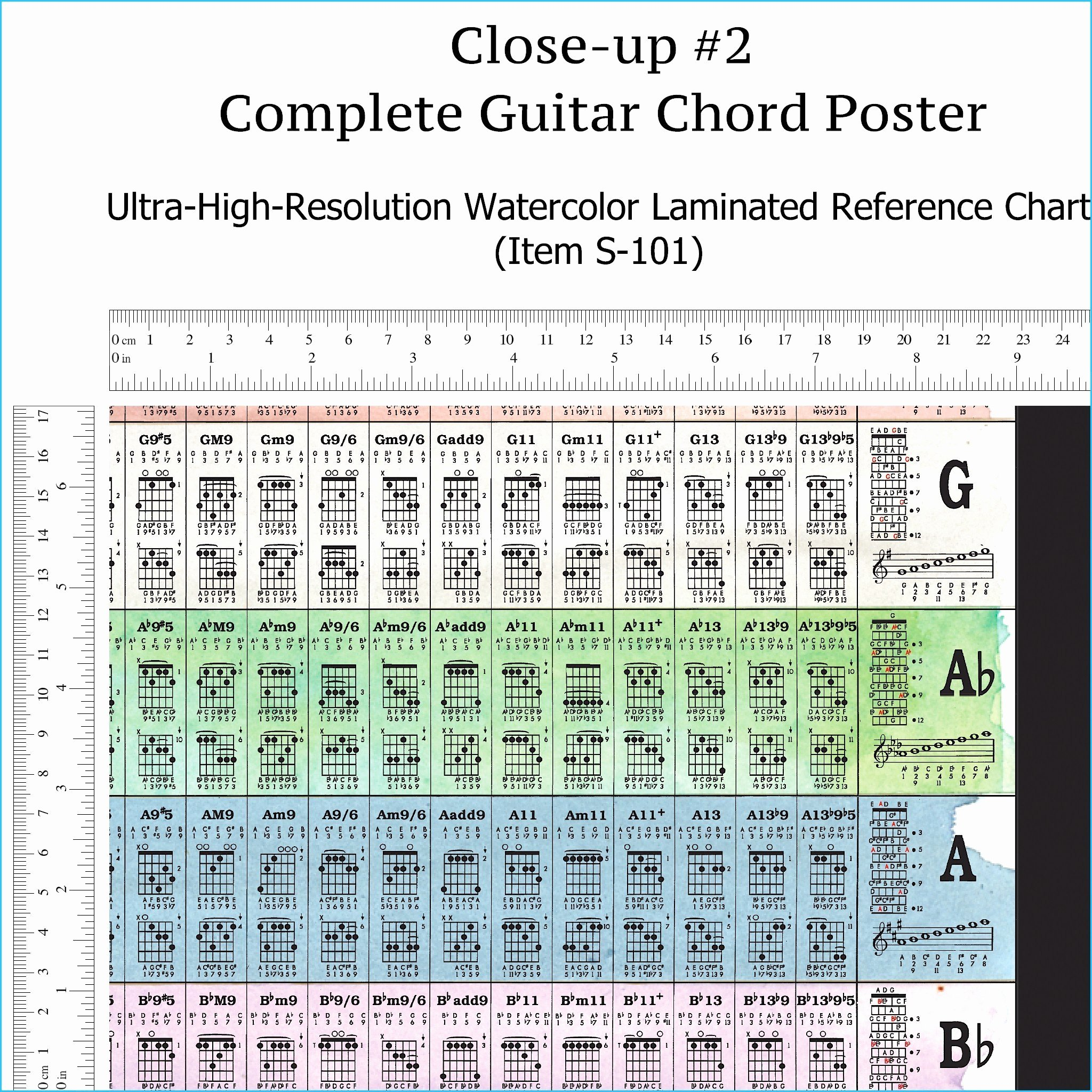 Complete Guitar Chord Charts Unique Plete Guitar Chords Chart Laminated Reference Wall
