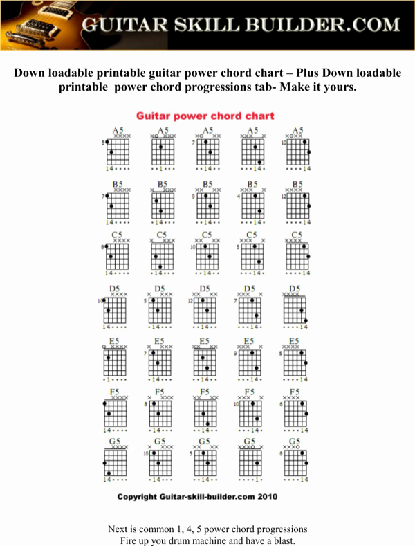 Complete Guitar Chords Chart Elegant Download Plete Guitar Power Chord Chart Sample for Free