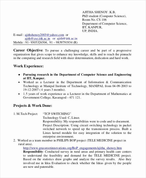 Computer Science Resume format Beautiful 11 Puter Science Resume Templates Pdf Doc