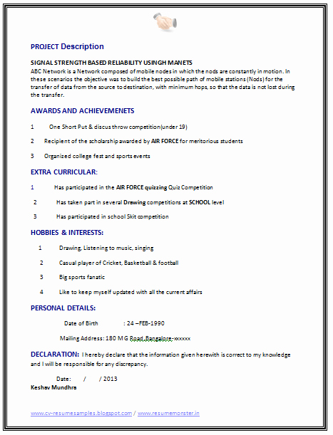 Computer Science Resume format Beautiful Best Fresher Puter Science Student Resume Sample