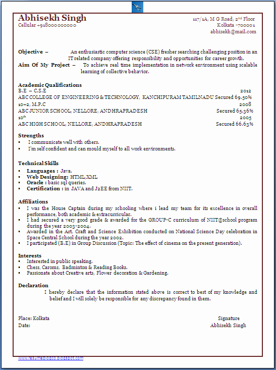 Computer Science Resume format Best Of Resume Blog Co Bachelor Of Puter Science Engineer B E