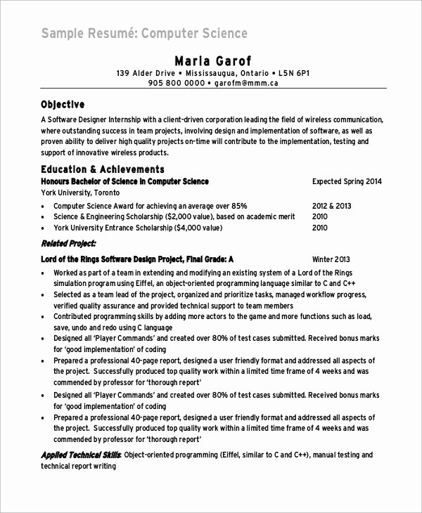 Computer Science Resume format Elegant Sample Puter Science Resume 8 Examples In Word Pdf