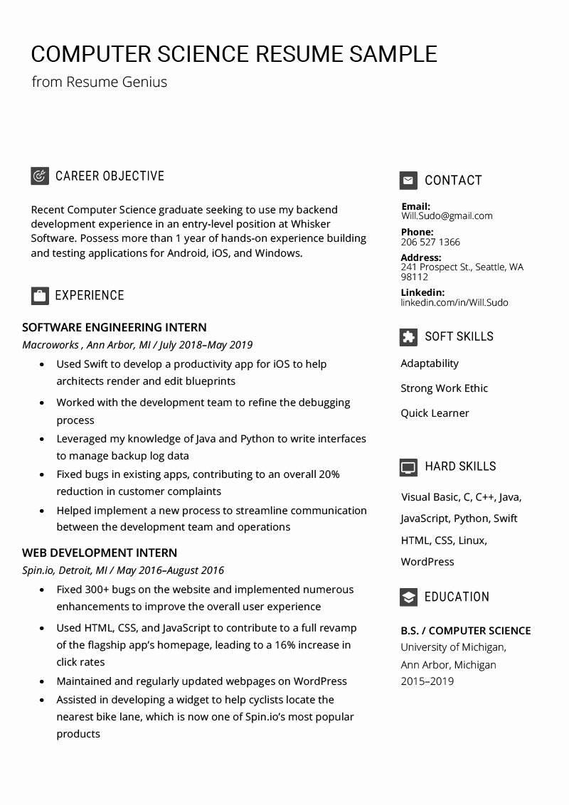 Computer Science Resume format Inspirational Puter Science Resume Sample & Writing Tips