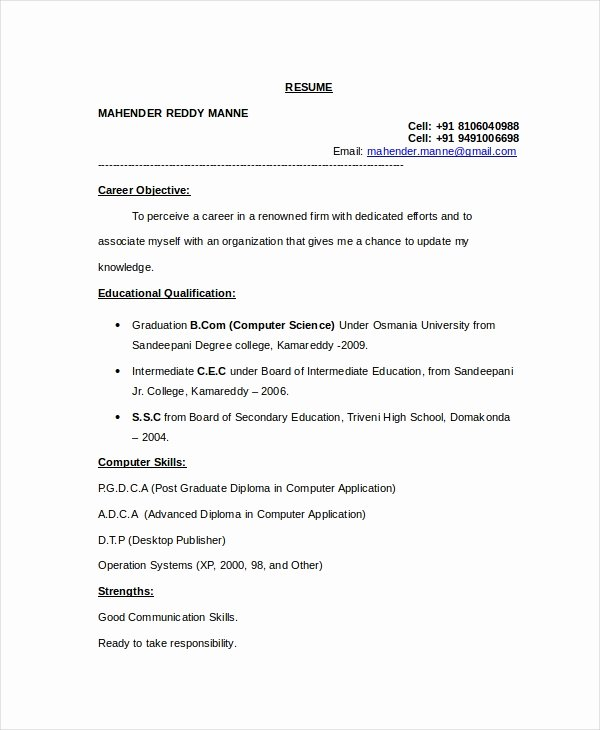 Computer Science Resume format Lovely 11 Puter Science Resume Templates Pdf Doc