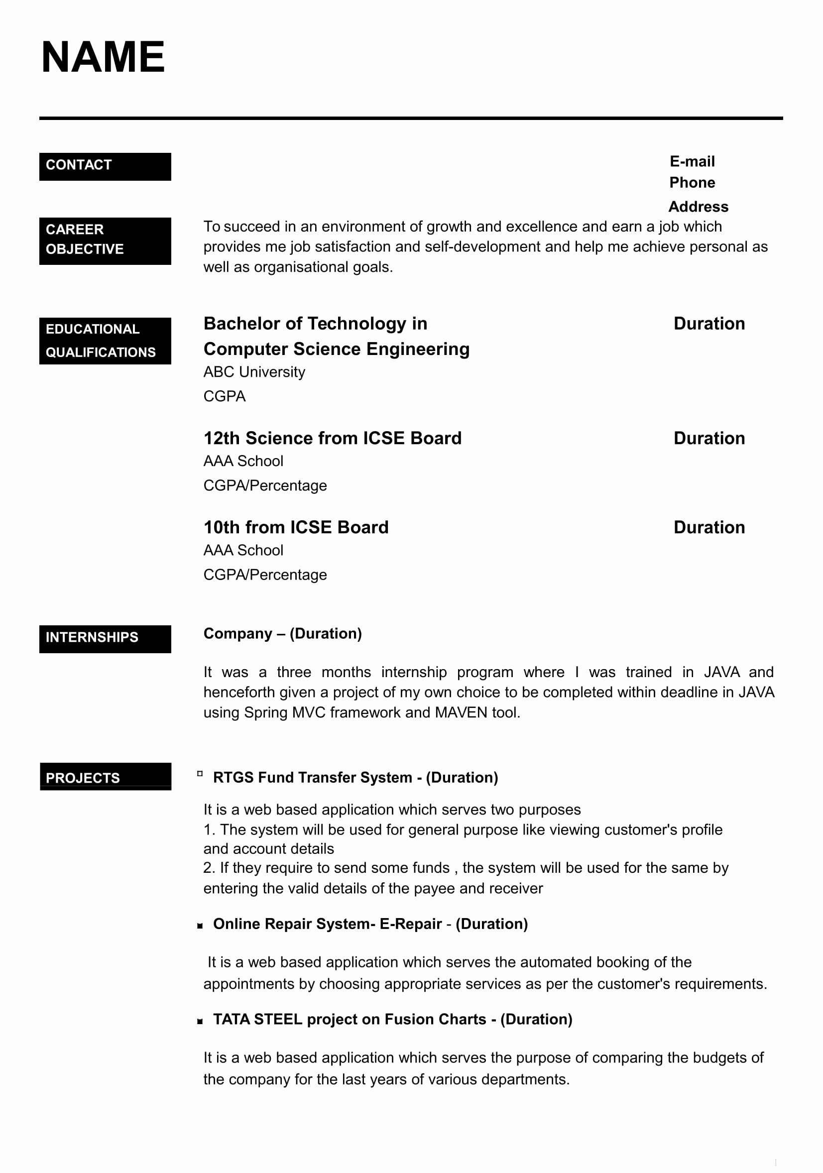 Computer Science Resume format Lovely 32 Resume Templates for Freshers Download Free Word format