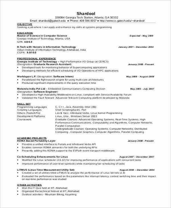 Computer Science Resume format Luxury Sample Puter Science Resume 8 Examples In Word Pdf