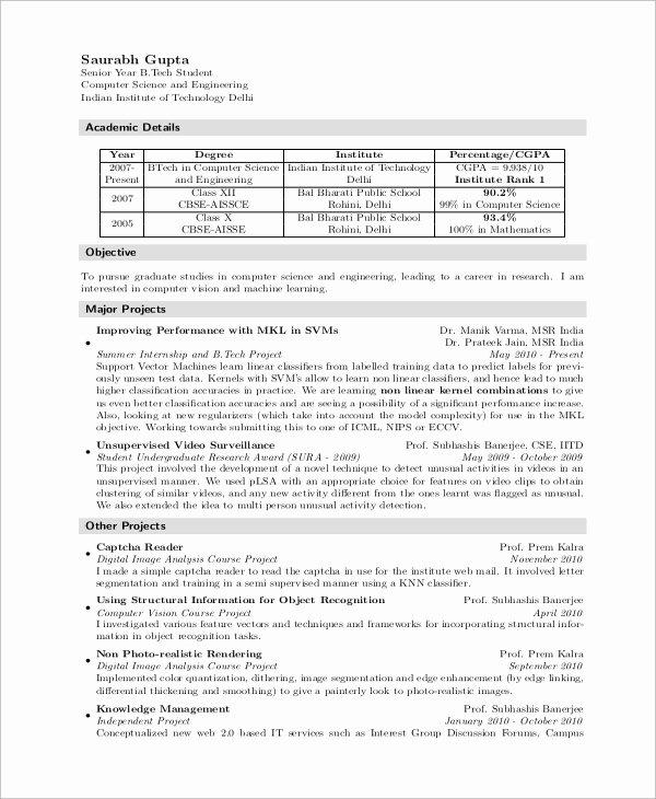 Computer Science Resume format Unique Sample Puter Science Resume 8 Examples In Word Pdf