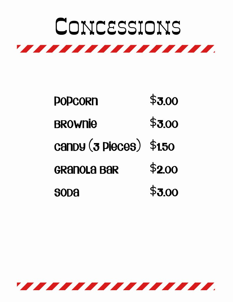 Concession Stand Price List Template Best Of 18 Of Concession Stand Price Sheet Template