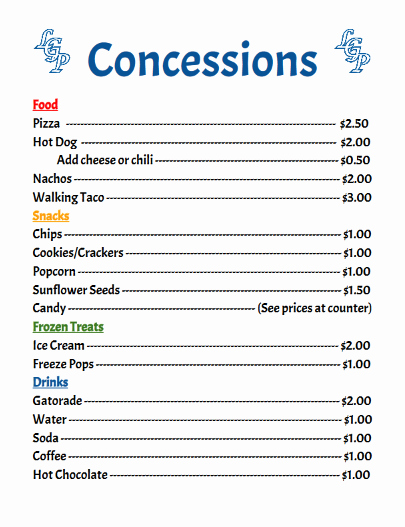 Concession Stand Price List Template Best Of Concession Prices Concession Stand