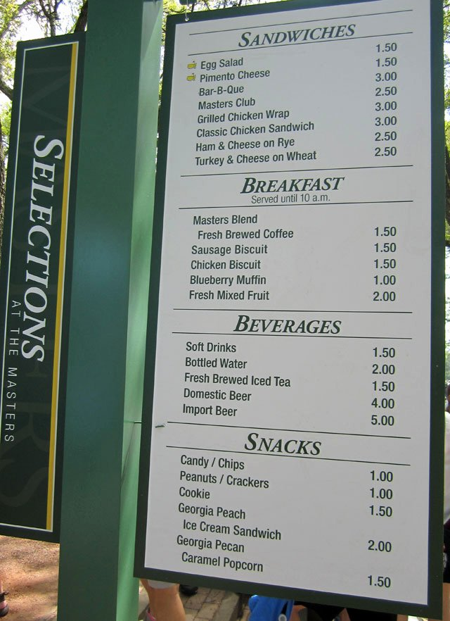 Concession Stand Price List Template Inspirational What Can $100 You at the Masters Concession Stand A
