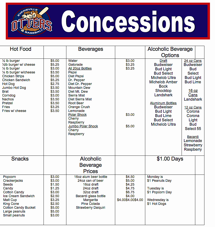 Concession Stand Price List Template Unique 18 Of Concession Stand Price Sheet Template