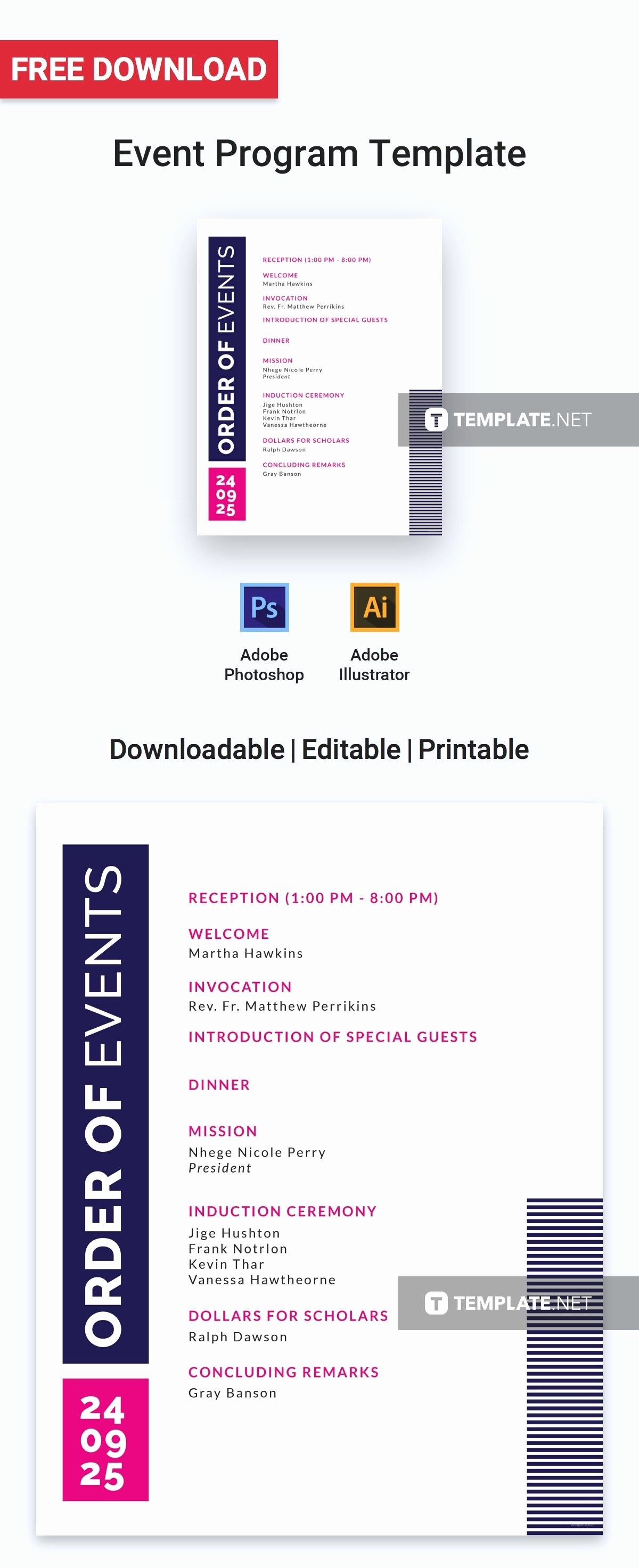 Conference Program Book Template Inspirational Free event Program Invitation