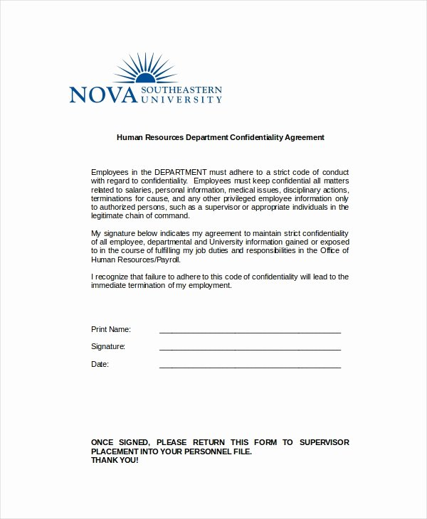Confidential Notice for Documents Best Of Human Resources Confidentiality Agreement 9 Free Word