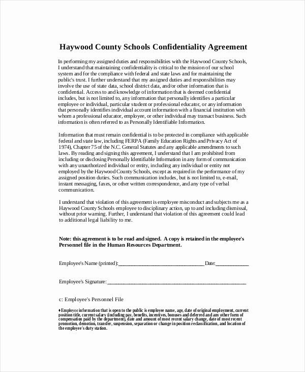 Confidential Notice for Documents Elegant Human Resources Confidentiality Agreement – 10 Free Word