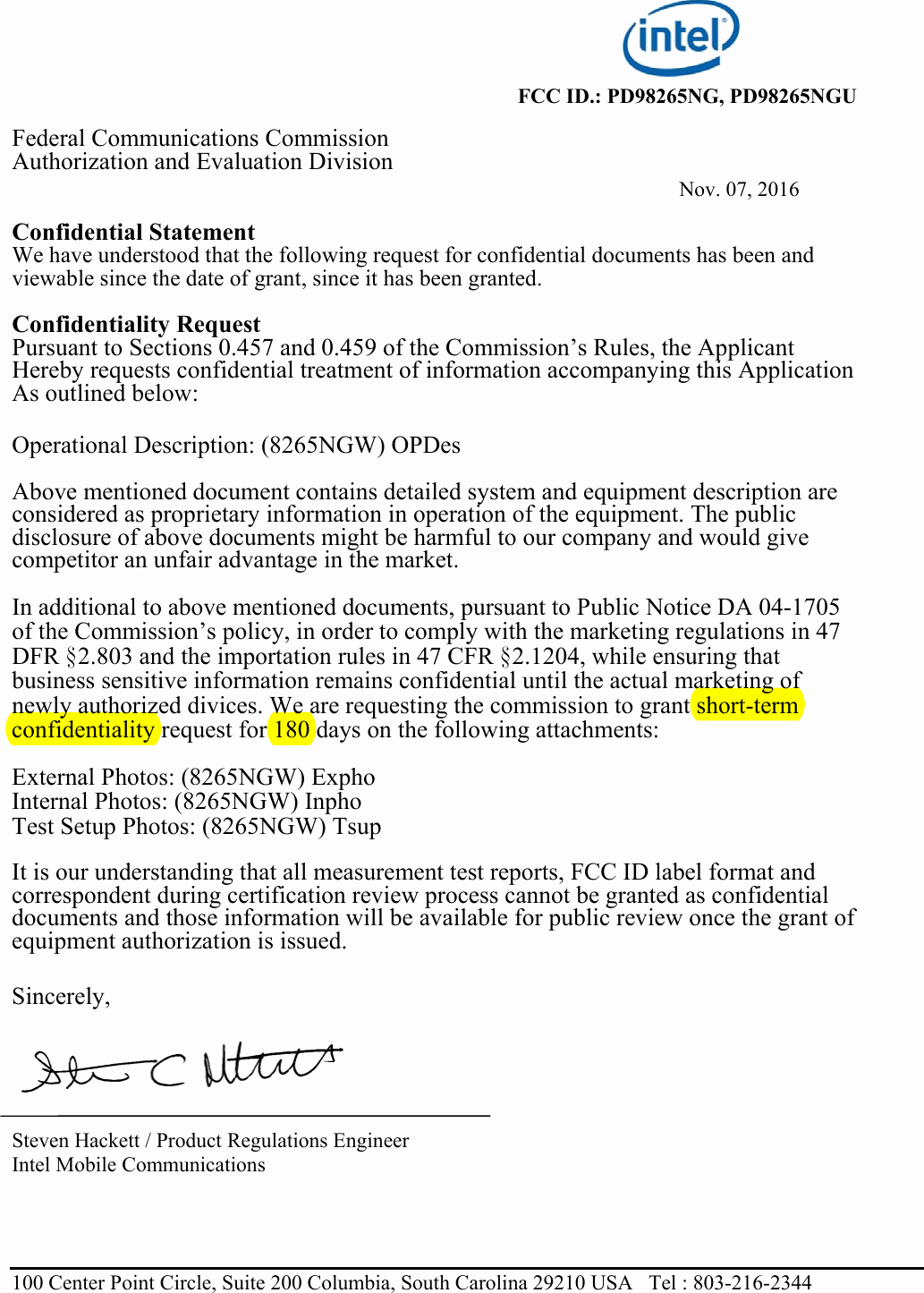 Confidential Notice for Documents Inspirational 8265ngu Intel Dual Band Wireless Ac 8265 Cover Letter