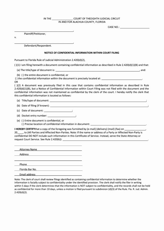 notice of confidential information within court filing form alachua county florida