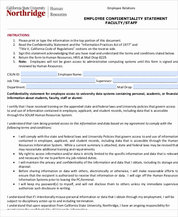 Confidential Notice for Documents New 10 Sample Confidentiality Statements Pdf Word