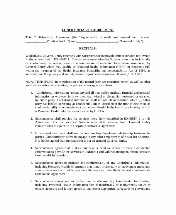 Confidentiality Clause for Documents Best Of 12 Medical Confidentiality Agreement Templates Free
