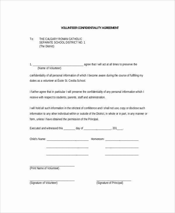 Confidentiality Clause for Documents Elegant 11 Volunteer Confidentiality Agreement Templates Doc