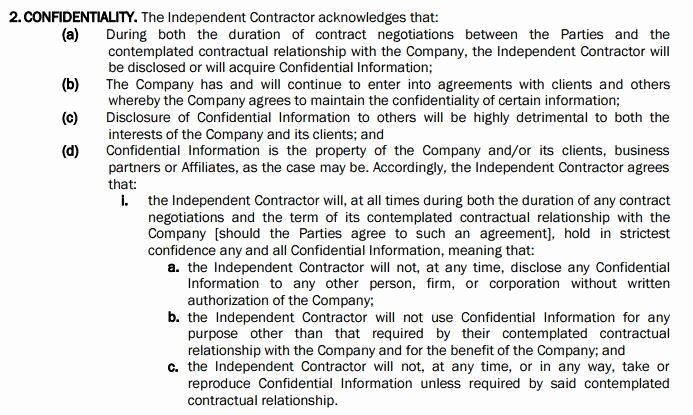 Confidentiality Clause for Documents Luxury Use A Nda with Independent Contractor Agreements Everynda
